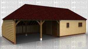 This oak framed garage is formed of four bays; two enclosed and two open. There is an enclosed store to the rear of the building and the enclosed bays are accessed via two solid single doors to the left and a pair of solid doors to the right. To the front there is a mullion window and a single pane window.