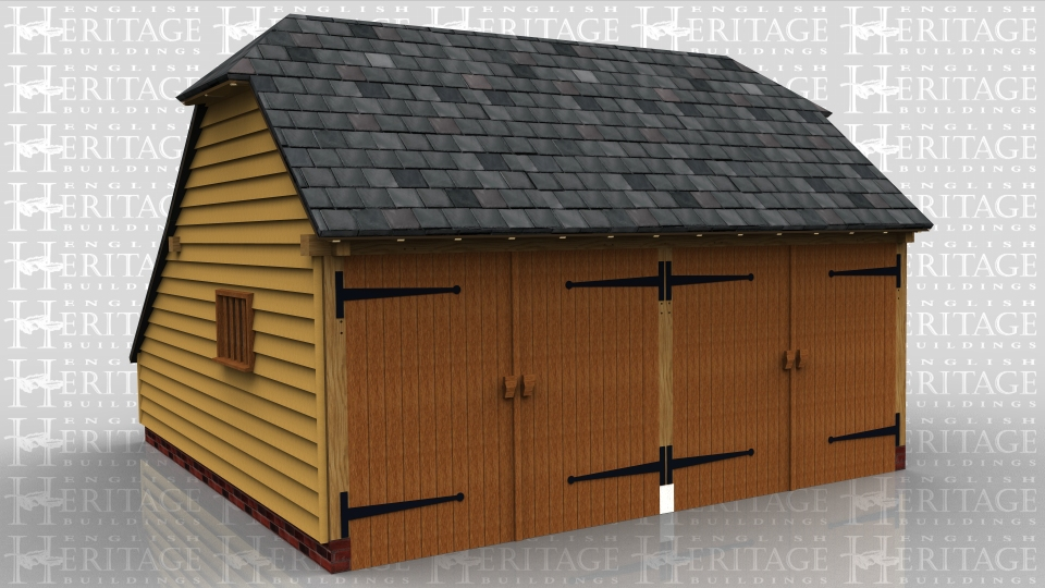 This is an oak frame two bay garage secure with garage doors, with an enclosed logstore to the rear. There is a barn hip at each end and on the right hand side there is a mullion window.