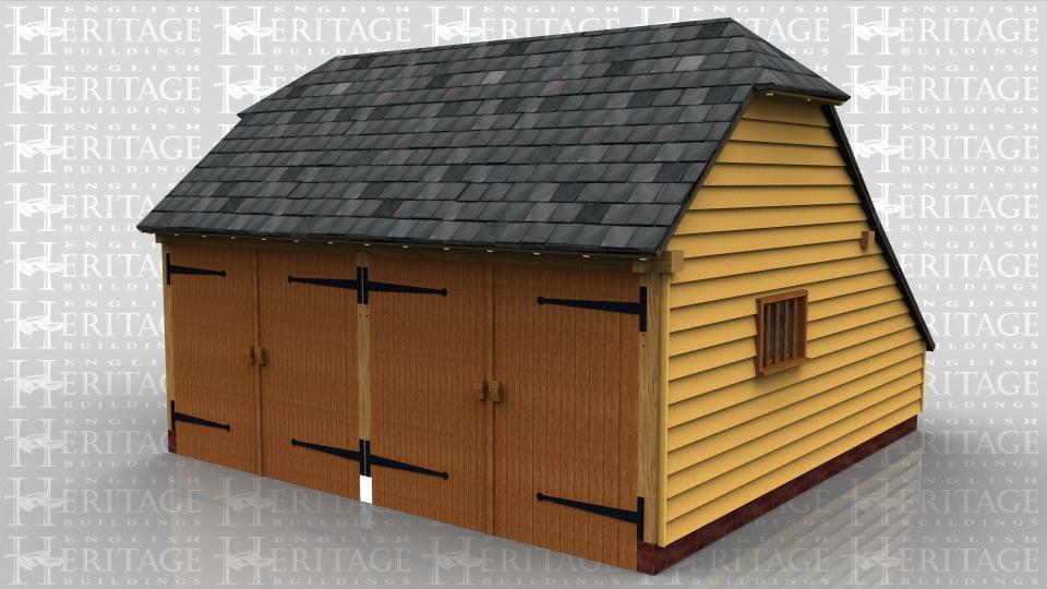 2 bay oak frame garage fully enclosed logstore ws00813 for Two bay garage