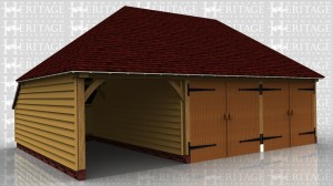 This is an oak framed three bay garage with two of the bays enclosed and secure with garage doors and the other bay is open. To the rear of the building there is an enclosed logstore.