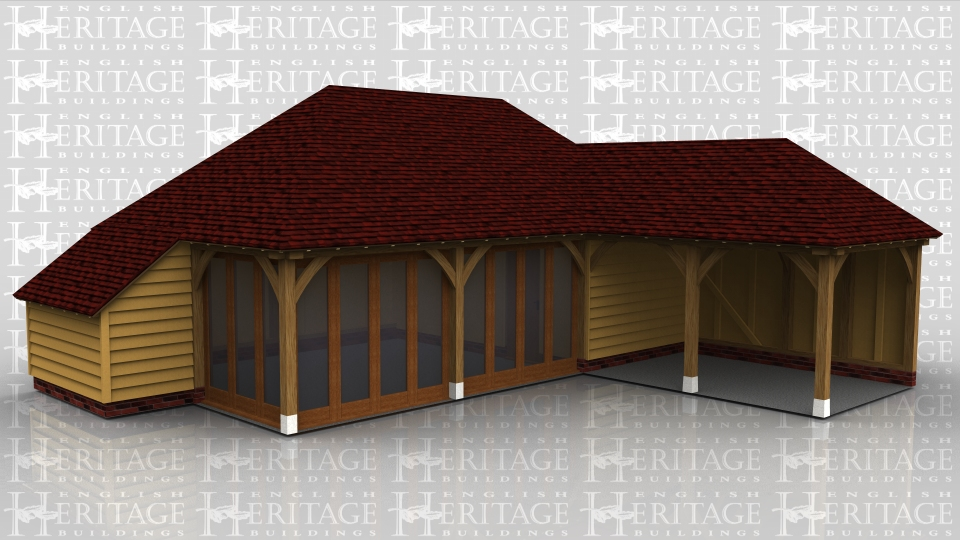 This oak framed home leisure building is formed of a three bay home leisure building, with two bays fully glazed to the front and left side. The third is enclosed and is accessed by a single solid door. The other frame is an open two bay garage with an enclosed store to the rear.