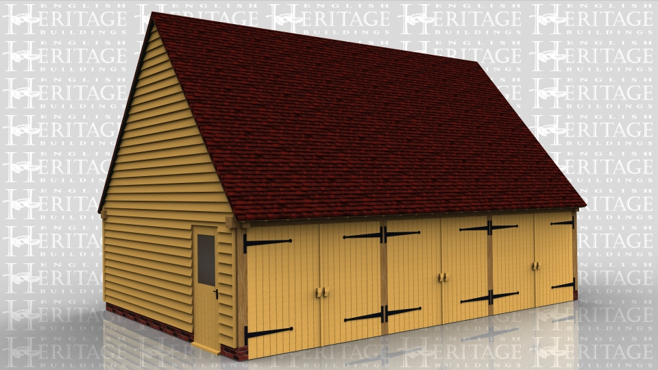 This oak framed garage has three enclosed bays with garage doors to the front and a half glazed door to the side.