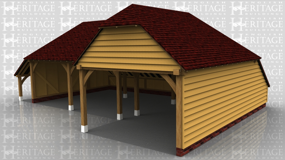 This oak framed garage is formed of two seperate frames. The first is a two bay open garage with an open logstore to the left side and an enclosed store to the rear. Attached to this frame is another two bay garage which is open to the rear and left side and enclosed to the front. To the right side there is an enclosed store.