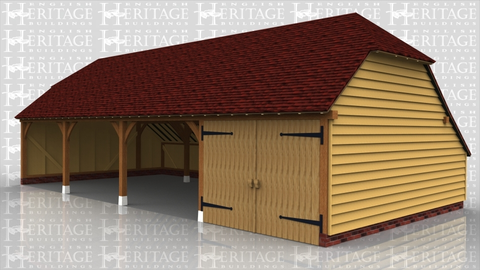 This is an oak framed four bay garage, three are open bays and the other bay is secured with garage doors. There is also a barn hip at each end.