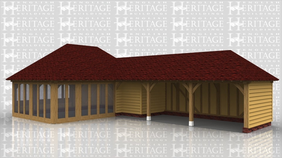 This oak framed complex is formed of two different frames.The first frame is formed of three bays, all enclosed. To the front there are fully glazed units and also to the left side. Attached to this is a three bay garage building, with the first bay enclosed for storage and the other two open to the front.