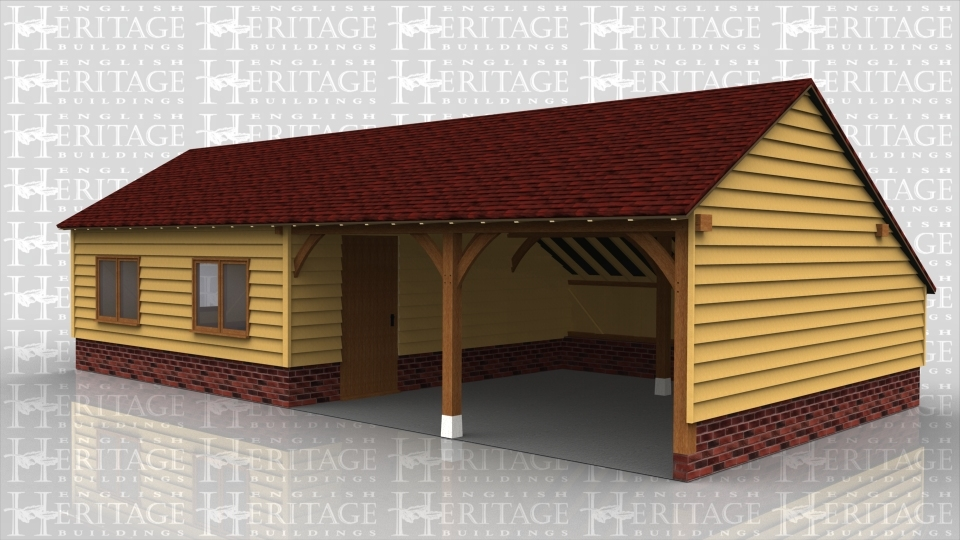 This is an oak framed garage, it has two open bays and two enlclosed, which can be accessed via the single door in the partition. There are also two two pane windows on the front of the building and there is a two pane window on the left hand side.