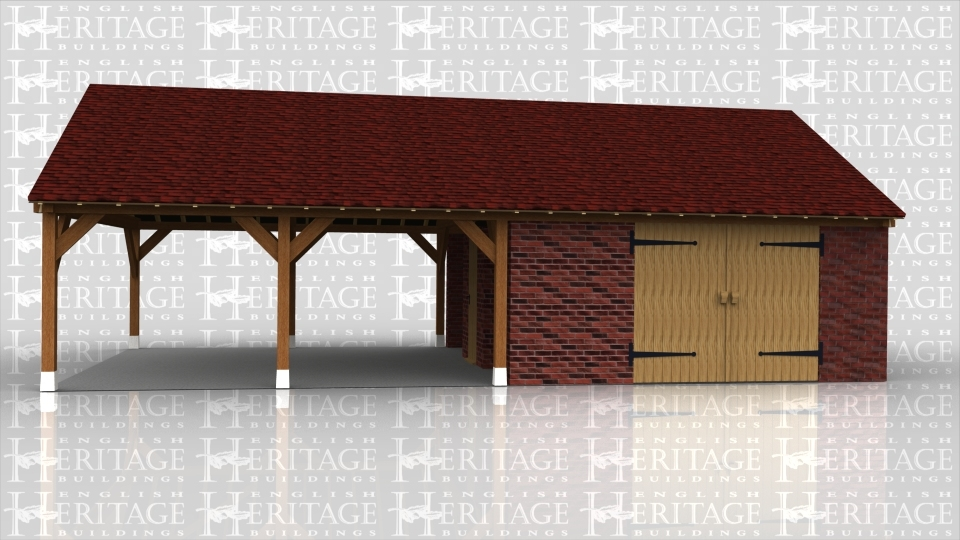This is an oak frame designed to be attached to an existing building. The frame has two open garage bays with no walls to the front or rear. The roof has gable ends with a small circular window on each end.