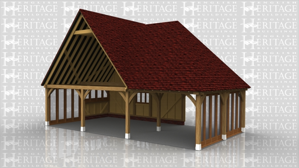This is an oak framed building designed to be attached to an exisiting building. On the left hand side there is two sets of four glazed units. On the right hand side there is a 4 pane unit and a 4 pane window. There is one open bay and at the front there is a three pane window.