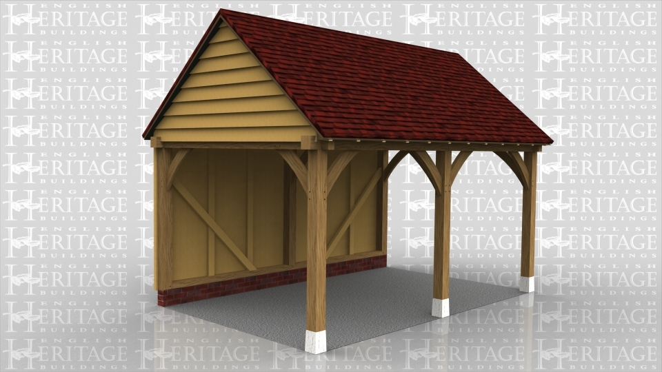 This is an oak framed two bay open car port.
