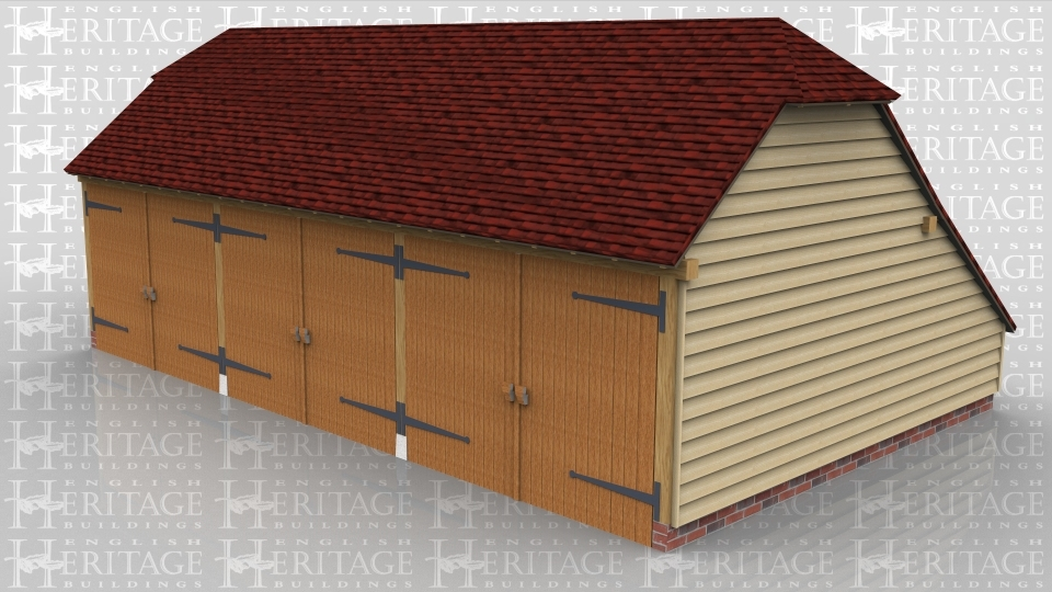 This oak framed garage is formed of three enclosed bays, each accessed by a set of garage doors to the front. There is an enclosed store to the rear.