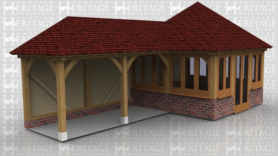 This is an oak framed garden room with glazing to three walls and a pair of garden room style doors to the front. Attached to the side is a two bay store with open walls to the front and side.
