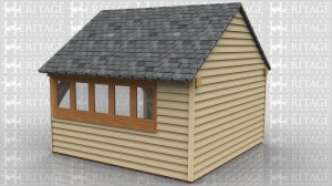 This is an oak frame designed to be attached to an existing building. It is a two bay store with partially open sides.