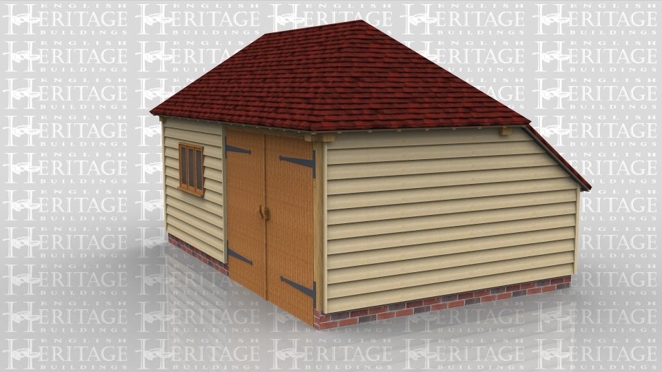 This is a two bay oak framed building which is used as a garden store and is accesed via the set of garage doors to the front. There is also a three pane window to the front of the building and an enclosed store to the rear.