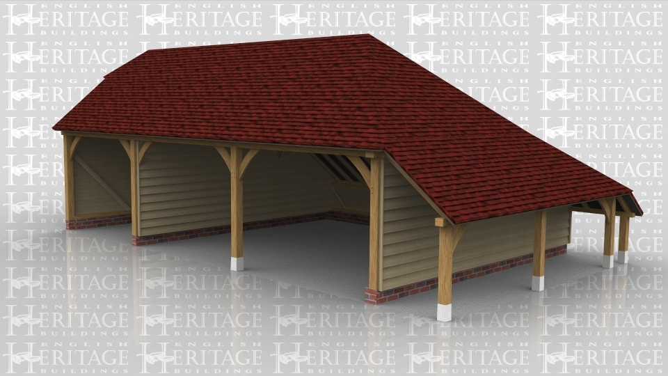 This is a three bay oak framed garage with open bays. There is a barn hip roof ending on the left hand side and an open logstore on the right hand side.