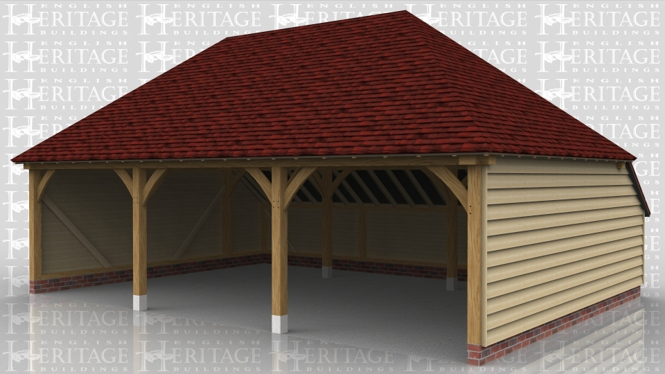 This three bay oak framed garage has open bays and an enclosed logstore at the rear.