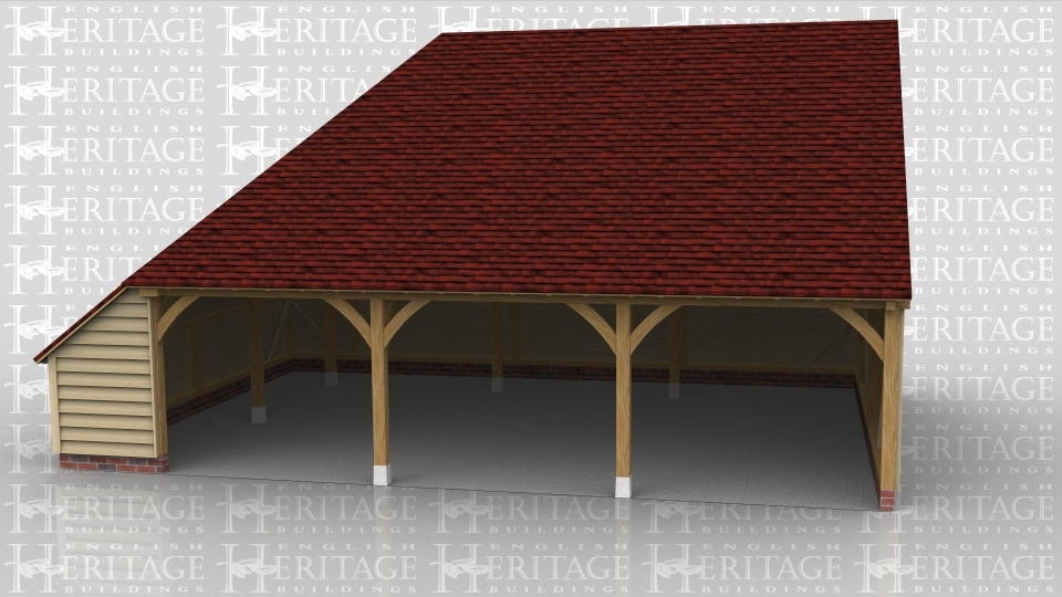 This is a three bay oak framed garage. There are three open bays and a enclosed logstore on the left hand side.