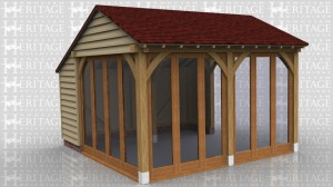 This is an oak framed building which is designed to be attached to an existing building. The front of the building is fully glazed and the left hand side has 4 pane units.