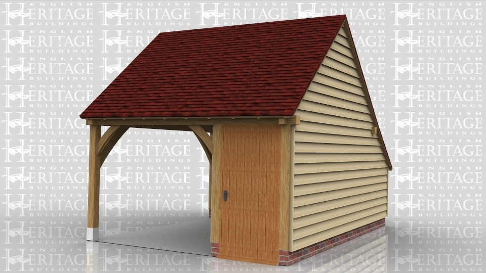This is an oak framed building with an open bay and a small enclosed area which is accesed via the single door at the front.