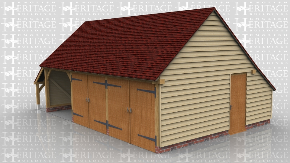 This is an oak framed building with three bays, two of the bays are secure with garage doors and also can be accessed via the single door on the right hand side.The other bay is open. There is an enclosed logstore to the rear and an open store to the left side.