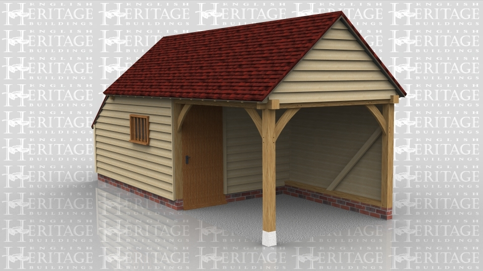 This is an oak framed building one of the bays is enclosed and can be accessed via the single door in the partition. There is also a mullion window at the front of the building. To the left of the building is an enclosed store.