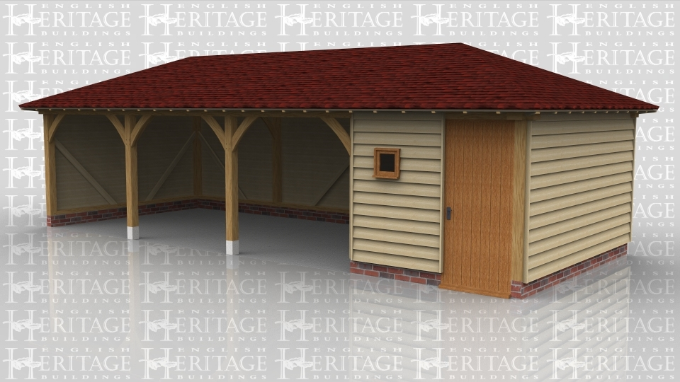 This oak framed garage has two open bays and one enclosed bay to be used as a store or workshop. The enclosed bay is accessed via a single door to the front and also has a single pane window.