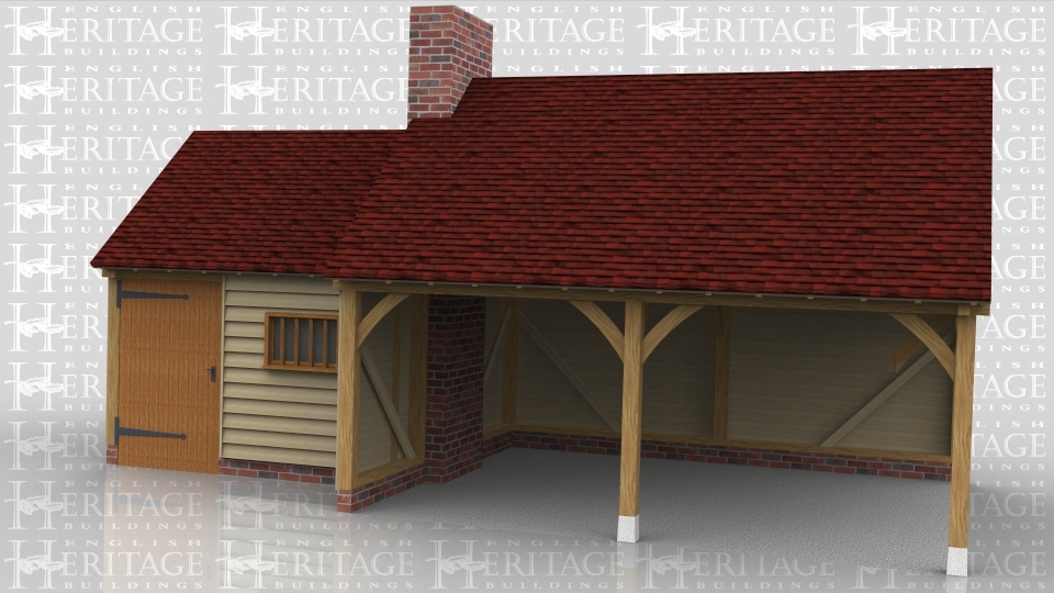 This oak framed building is comprised of two different frames, one is a two bay garage with the front wall left open. The other frame is a single bay store or workshop accessed via a single door to the front and with a mullion window. The store also has a single door on the first floor right hand side and trimming for a chimney.