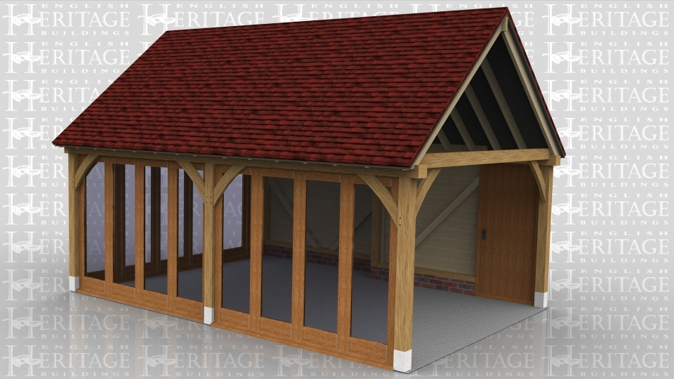 This two bay oak framed building is designed to be attached to an exisiting building. The front of the building has two, four pane units and on the left hand side there is a five pane unit. The building is accessed via the single door at the rear of the building.