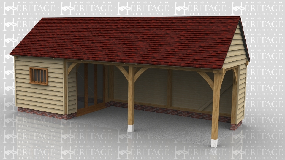 This oak framed building has three bays, one enclosed bay to be used as a store or workshop, and two open bays. The store is accessed via internal doors in the open bays. There are three full length windows on the right hand side.