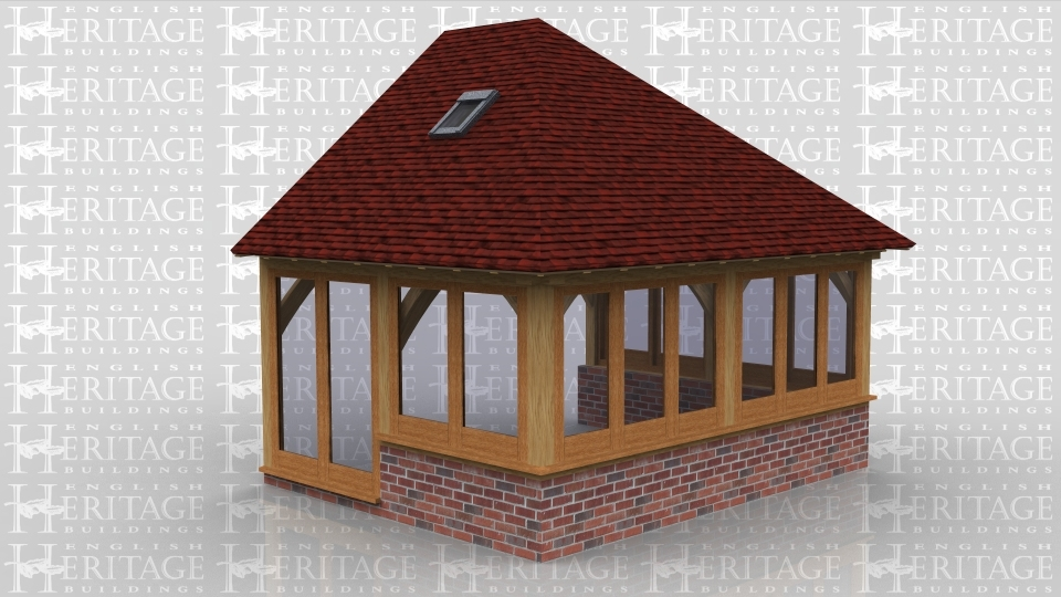 This is an oak framed building which is designed to be attached to an existing building. All three sides are glazed and all the glazing, apart from the two pane unit doors, sits on a dwarf cavity brick wall. There are also two rooflights: one at the front and one at the rear.