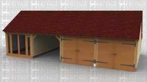 This is an oak framed building with two enclosed garage bays secure with garage doors. The other enclosed bay has a fully glazed door unit and the other bay is open. On the left hand side is a signle pane window.