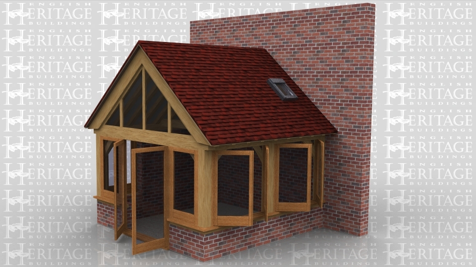 This is an oak framed extension which is fully glazed and is a good example of how an oak frame can easily integrate with dwarf and full height brick walls to blend in with existing buildings. There is also a rooflight on the right hand side.