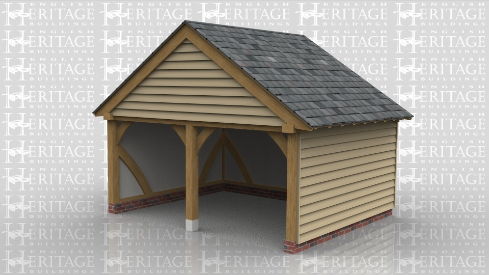 This is a two bay oak framed building. Both of the bays are open and used as parking space.