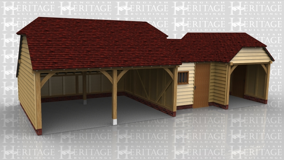 This oak framed complex is formed of three different frames. The first is a two bay open garage, with an enclosed store to the rear. The second frame is a small link building, with a single solid door to the front and a mullion window. The third frame is a two bay enclosed garage, with access via the open left side, and a single door to the front.