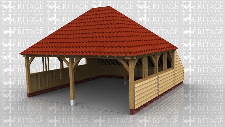This is an oak framed building with two open bays.