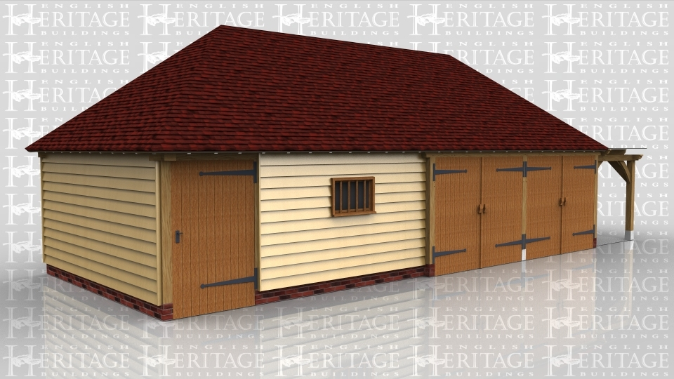 This oak framed building is comprised of four bays, all enclosed. The first two bays act as a workshop or store room, accessed by a single door to the front and a two pane window. The other two bays accessed by a garage door to the front of each. On the right hand side there is an open pergola accessed by a single door on the right hand side.