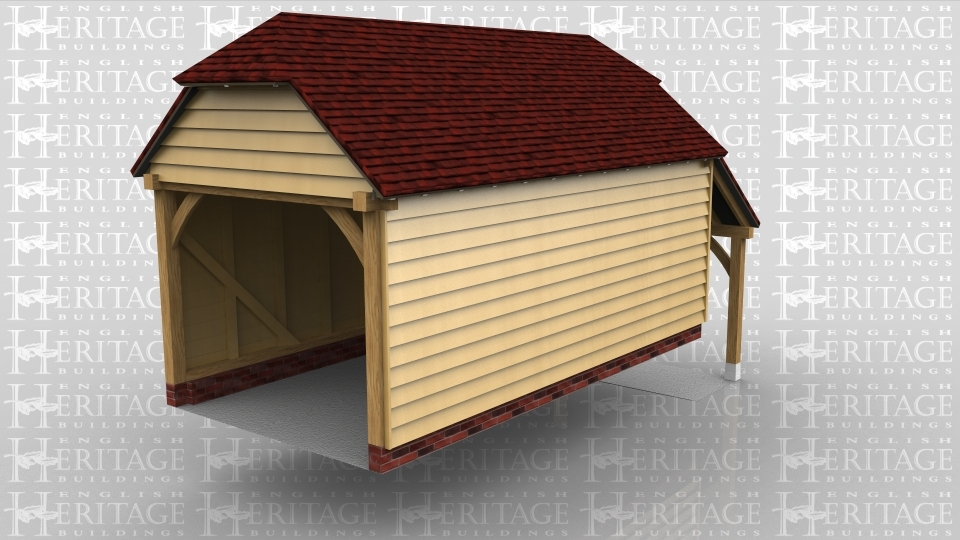 This is a one bay oak framed garage with barn hip ends and an open log store to the rear on a split level site.