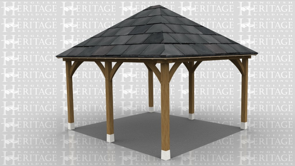 This is a two bay open oak framed car port.