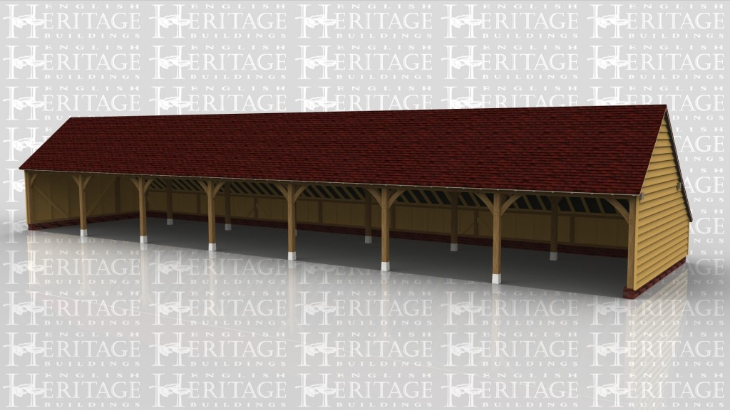 This oak framed building has seven open bays to be used for parking. There is also an enclosed store to the rear.
