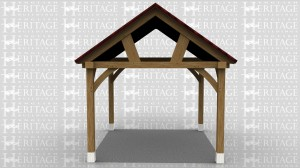 This is an oak framed car port designed to be attached to an existing building.