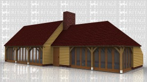 This oak framed building is formed of two different frames, the first is a three bay enclosed home leisure building with fully glazed units to the front, and an enclosed store to the rear. The second frame is a three bay enclosed home leisure building, with two glazed units to the front and a solid single door. There is an enclosed store to the rear and trimming for a chimney on the left.