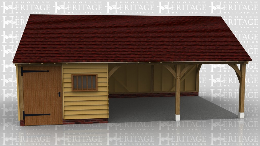 This is an oak framed garage building with two open bays used for parking and another bay which is enclosed and can be accessed via the wide door at the front. There is also a mullion window to the front of the building.