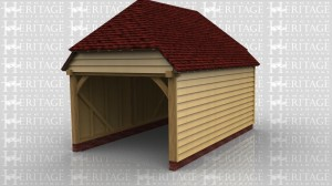 WS00976 Oak framed building is a one bay garage with an open front & the rest enclosed