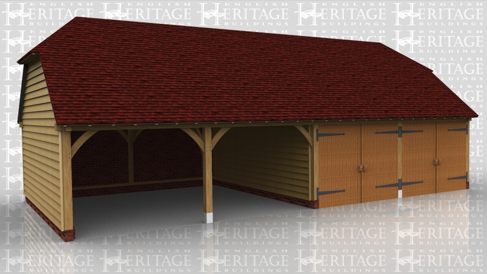 This oak framed building is a four bay garage, with two bays open and two bays enclosed. The enclosed bays are secured with standard garage doors.