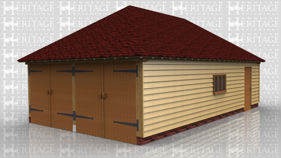 This oak framed garage building has a set of garage doors to the left hand side and a single solid door to the front. There are also three pane windows to the front and side.