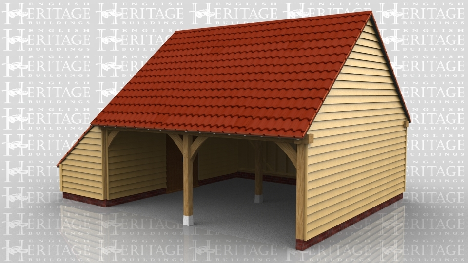 This is an oak framed garage with two open bays and a enclosed logstore on the left hand side.