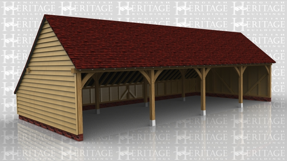This oak framed garage has four open bays and an enclosed store to the rear.