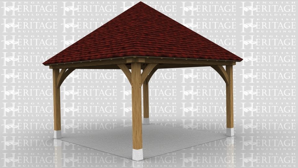This oak framed gazebo has open sides all the way around.