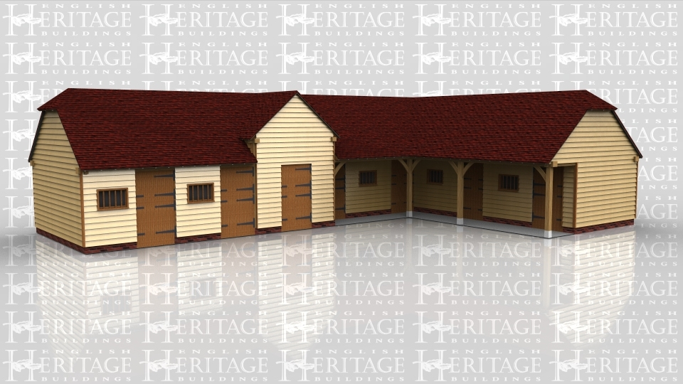 This oak framed stable complex has two frames; the first is a six bay stable, with enclosed bays and access via a set of stable doors to the front and rear of each bay. There are also mullion windows to each bay. Attached to this is a two bay stable, with enclosed bays and setback partitions to the front. Access is via stable doors to the front and rear of each bay.
