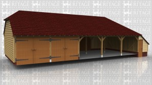 This is an oak framed building with three open garage bays and two enclosed bays.The enclosed bays are accessed by garage doors to the front. There is also a store to the right hand side accessed by a single door.