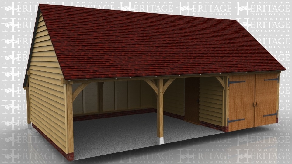This oak framed three bay garage has two open bays and one enclosed. The enclosed bay is accessed via a garage door. To the rear there is an open store and a mullion window to the right hand side.
